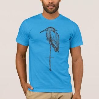 T-shirt azuis da garça-real do vintage -