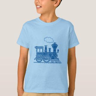 T-shirt azul da luz do trem da locomotiva de vapor
