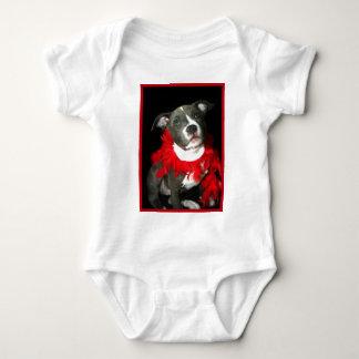 T-shirt azul do bebê do filhote de cachorro de