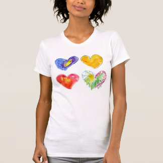 T-shirt azul do rosa do ouro de 4 corações do amor
