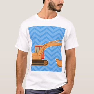 T-shirt Backhoe pesado do equipamento do transporte - azul