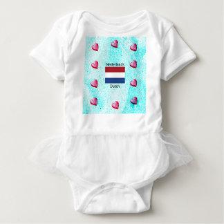 T-shirt Bandeira holandesa e design holandês da língua