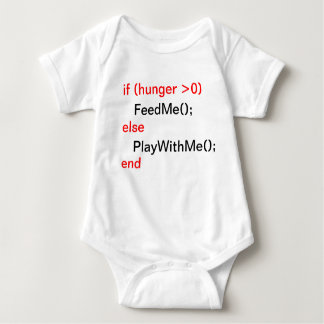 T-shirt Bebê do programador (FeedMe, PlayWithMe)