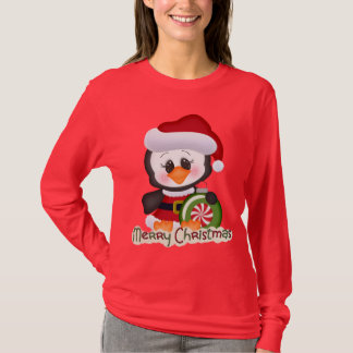 T-shirt bonito do pinguim do feriado do Natal