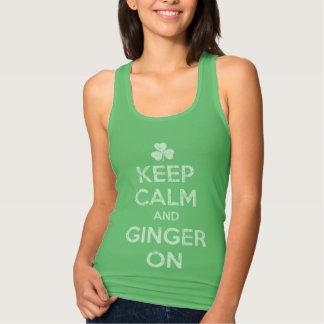T-shirt Bonito mantenha a calma e o gengibre sobre