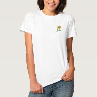 T-shirt bordado do girassol camiseta polo bordada feminina