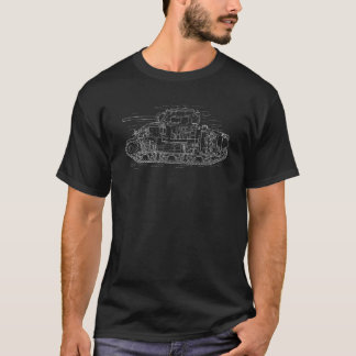 T-shirt branco do diagrama do tanque de WWII