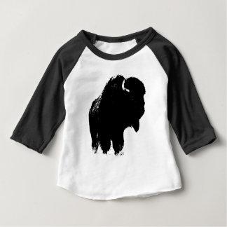 T-shirt Búfalo preto & branco do bisonte do pop art
