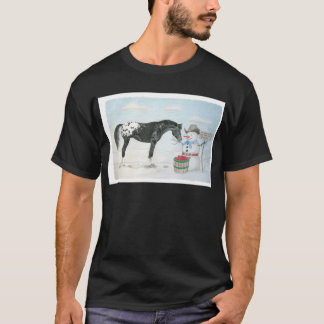 T-shirt Cavalo do Appaloosa com o boneco de neve,