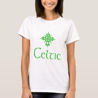 T-shirt Céltico verde com cruz