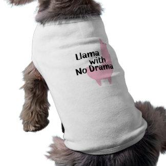T-shirt cor-de-rosa do cão do lama camiseta