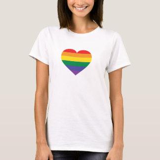 T-shirt Coração do orgulho do arco-íris