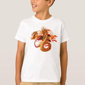 T-shirt coral do miúdo do dragão do fogo