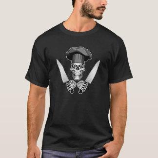 T-shirt Crânio do cozinheiro chefe com facas do cozinheiro