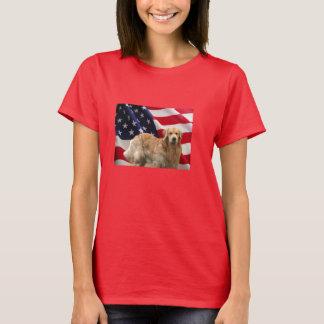 T-shirt da bandeira americana do golden retriever