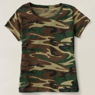 T-shirt da camuflagem das mulheres