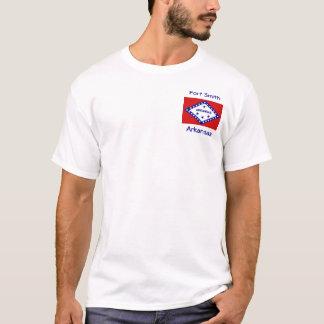 T-shirt da cidade do mapa da bandeira de Arkansas
