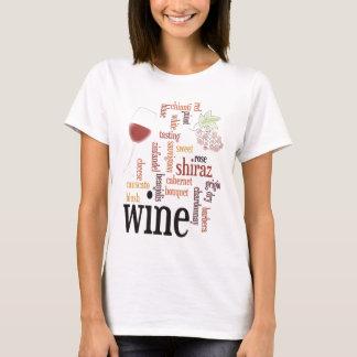 T-shirt da nuvem da palavra do vinho
