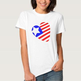 t-shirt dado forma coração da bandeira americana