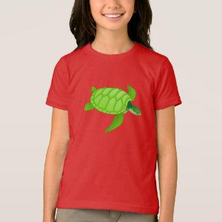 T-shirt das meninas da tartaruga de mar verde
