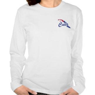 T-shirt das senhoras da bandeira de Cuba - etiquet
