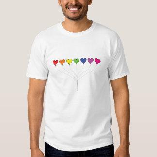 T-shirt de flutuação dos corações do balão