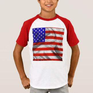 T-shirt de seda da bandeira dos EUA da bandeira