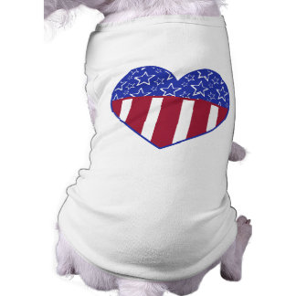 T-shirt do animal de estimação do coração dos EUA Camisa Sem Mangas Para Cachorro