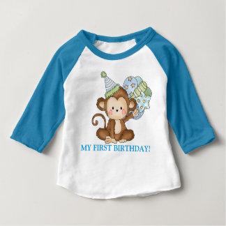 T-shirt do aniversário do macaco do bebé primeiro