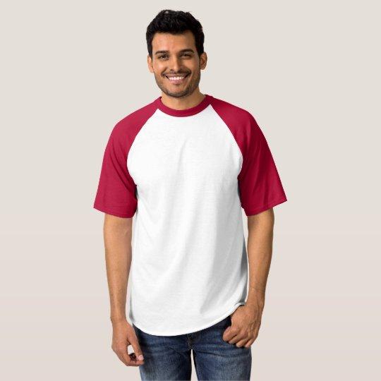 Camiseta Raglan Baseball, Masculina, Branco/Vermelho