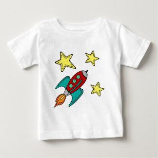 t-shirt do bebê do navio do foguete retro