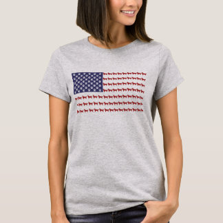 T-shirt do cão da bandeira americana