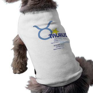 T-shirt do cão dos traços do Taurus Camisa Sem Mangas Para Cachorro