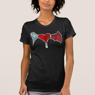 T-shirt do coração do demónio do anjo (preto)