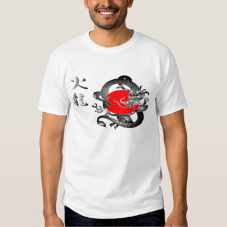 T-shirt do dragão do fogo da bandeira de Japão