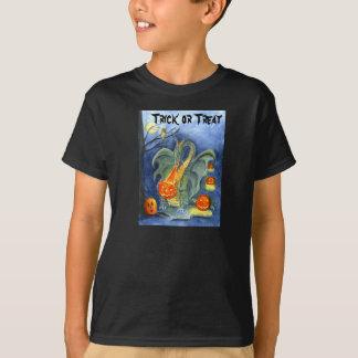 T-shirt do fogo da abóbora do dragão (miúdo)