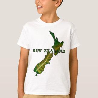T-shirt do mapa da samambaia de Nova Zelândia