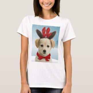T-shirt do Natal do filhote de cachorro da rena