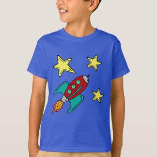 t-shirt do navio do foguete retro