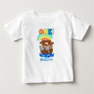 T-shirt do primeiro aniversario do bebê da arca de
