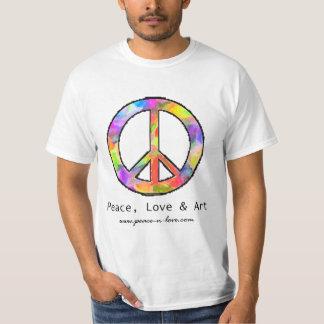 T-shirt do sinal de paz da paz, do amor & da arte