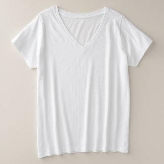 T-shirt do V-Pescoço do Mais-Size das mulheres