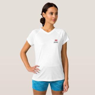 T-shirt Dobro-Seco do branco do V-Pescoço do