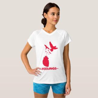 T-shirt Dobro-Seco do V-Pescoço dos sentimentos do