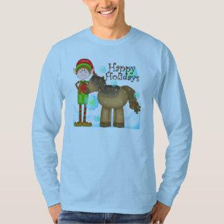 T-shirt dos homens do feriado do duende do Natal