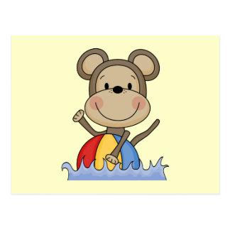 T-shirt e presentes da natação do macaco da praia cartão postal