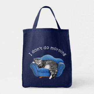 T-shirt e presentes do gato do sono bolsas de lona