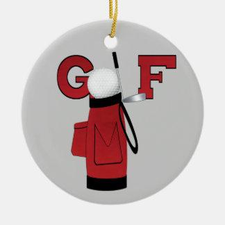 T-shirt e presentes vermelhos do golfe do saco de ornamento de cerâmica redondo