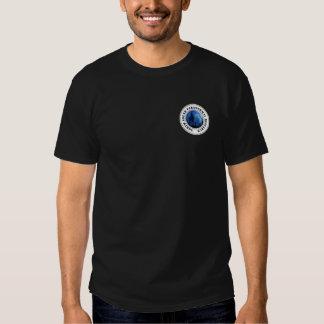 T-shirt escuro do promocional do logotipo dos