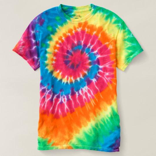 Camiseta masculina tie-dye Spiral, Arco-íris